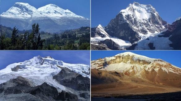 Peaks of the Andes: Snowy Huascarán 6768 m Peru, Snowy Yerupajá 6634 m Peru, Huayna Potosí 6088 m Bolivia, Sajama 6542 m Sajama 6542 m Bolivia