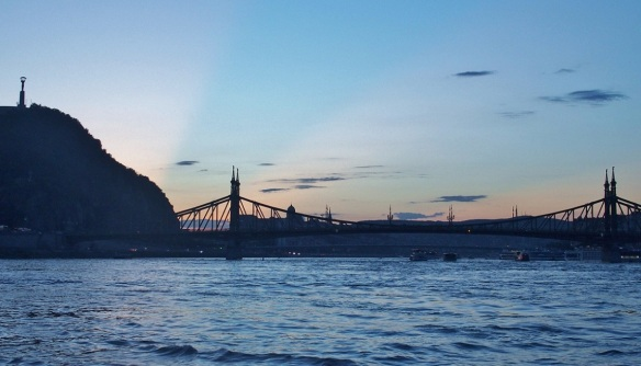 Gellért Hill and Liberty Bridge in the twilight.