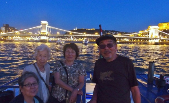 Szechenyi Chain Bridge; We all four really enjoyed the trip of Hungary. We love Hungary.