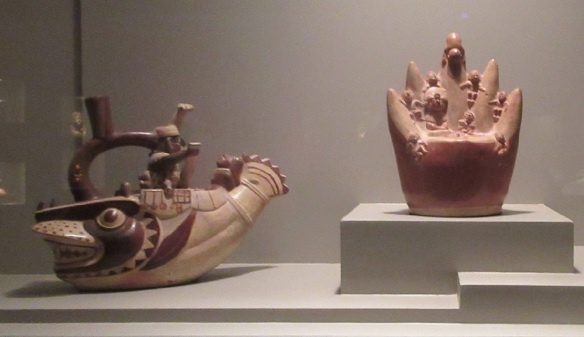 Moche Culture: Fish-boat depicting sacrifice of warriors. Defeated warriors were sacrificed by being thrown off a precipice in the mountains.